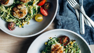 Grilled Scallops with Herbed Zucchini Noodles and Charred Corn