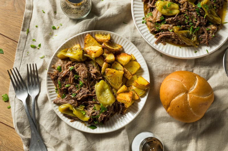 Homemade Roasted Mississippi Pot Roast with Peppers and Potatoes