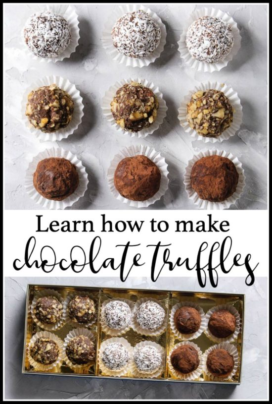 a photo of chocolate truffles with text for pinterest