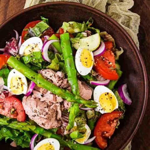 an overhead shot of a salad nicoise recipe