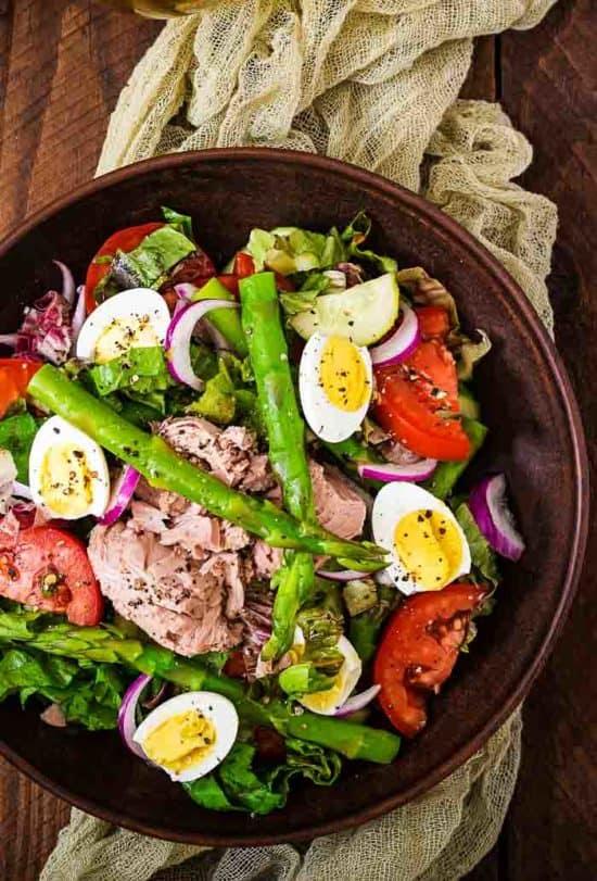 an overhead shot of a salad nicoise recipe