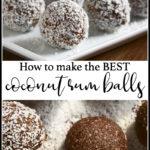 coconut rum balls pin for Pinterest