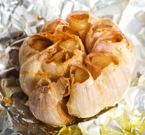 Instant Pot roasted garlic on a sheet of tinfoil