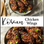 a bowl of korean chicken wings with text for pinterest