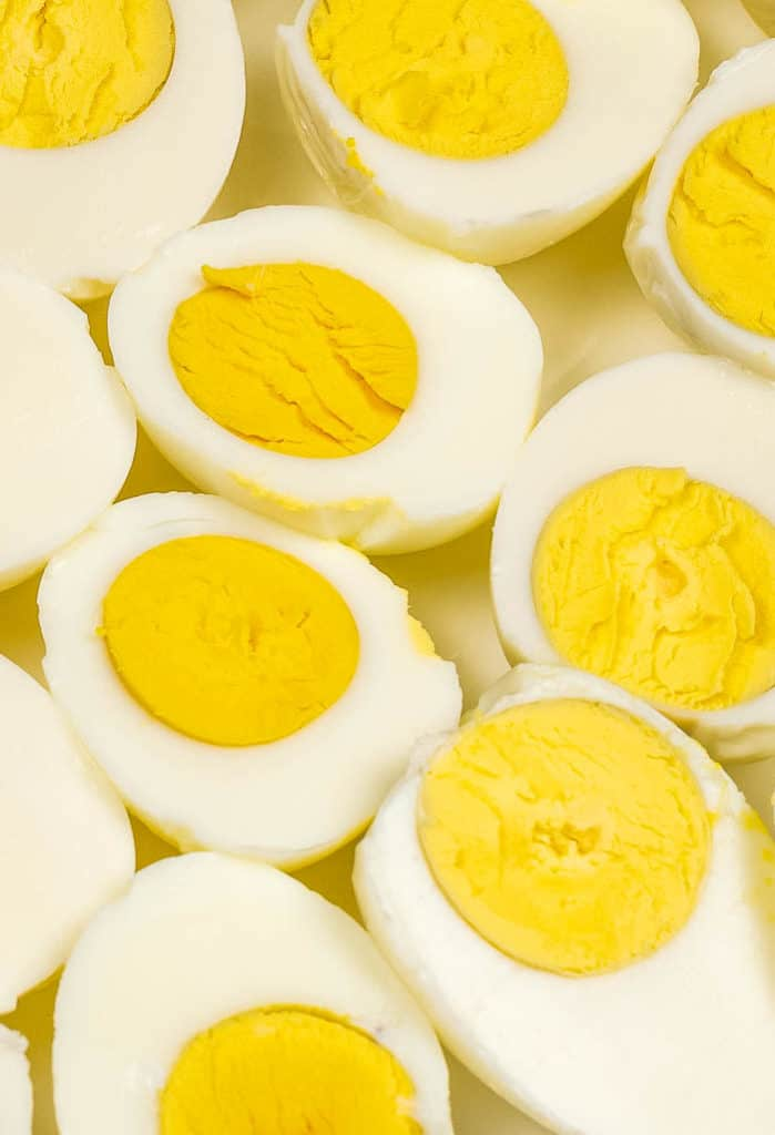 hard-boiled eggs made in the Instant Pot, halved