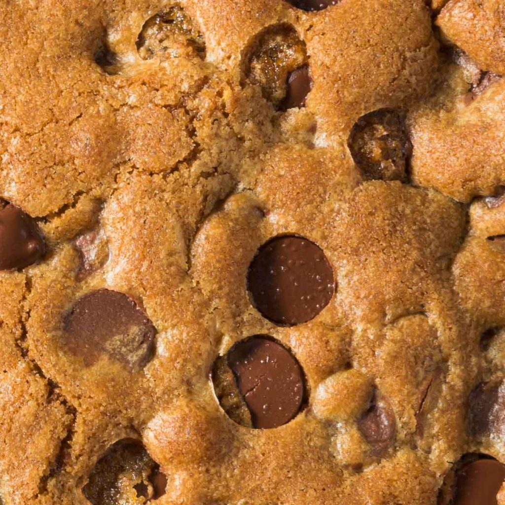 a closeup of a skillet cookie