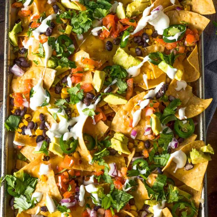mexican sheet pan nachos with all the toppings
