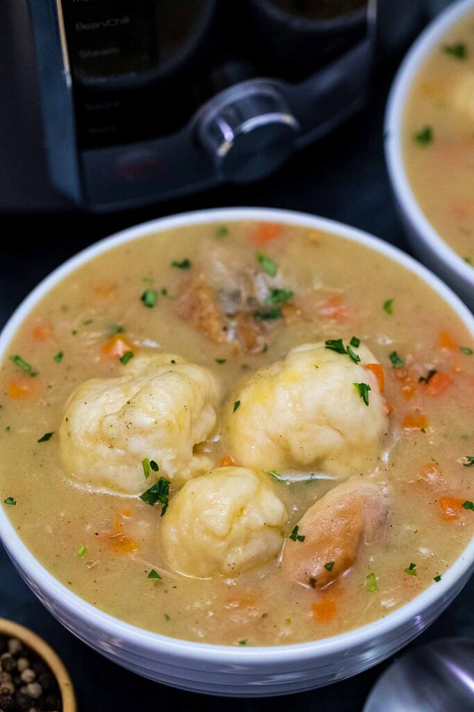 a dish of instant pot chicken and dumplings