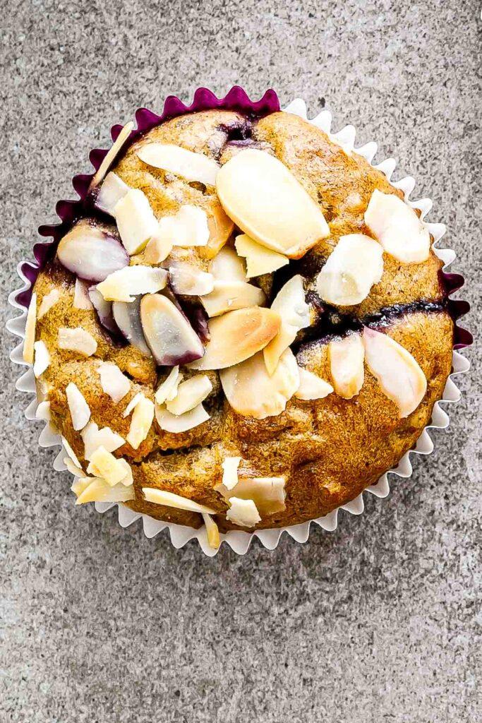 a closeup of a banana blueberry muffin